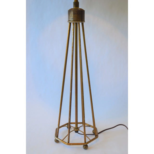White Atomic Modern Wire Frame Lamp and Shade For Sale - Image 8 of 12