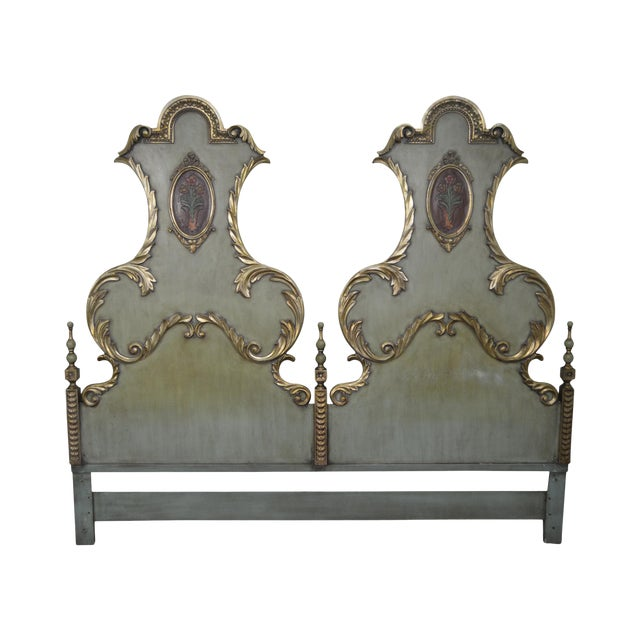 Karges Vintage High Back Paint Decorated Venetian Style King Size Headboard - Image 1 of 10