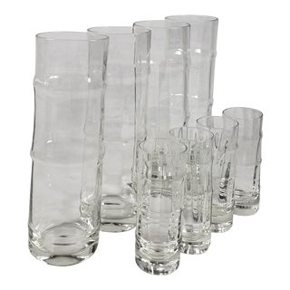 Vintage Bamboo Shape Collins Glasses and Matching Shot Glasses - Set of 8 For Sale