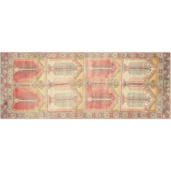 """Vintage Turkish Anatolian Oushak Rug - 3'7"""" X 10' - Image 1 of 3"""