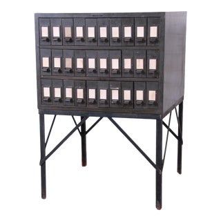 Industrial Age 30-Drawer Parts Cabinet For Sale
