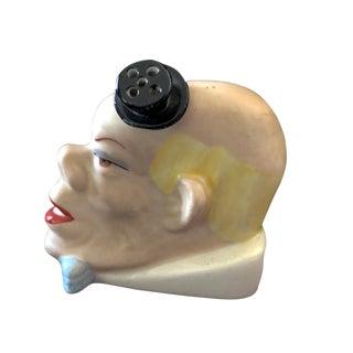 "Antique German Porcelain Bisque Clown ToothPick Matchstick Holder 3"" H For Sale"