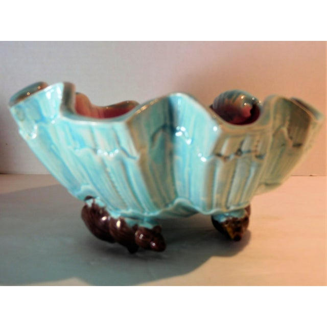 English Majolica Large Clam Shell Bowl, Circa 1885 For Sale In Boston - Image 6 of 13