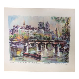 "1950s Notre Dame Cathedral Titled ""Paris-Lite De La Cite'"" Hand Colored Print Signed by Marius Girard For Sale"