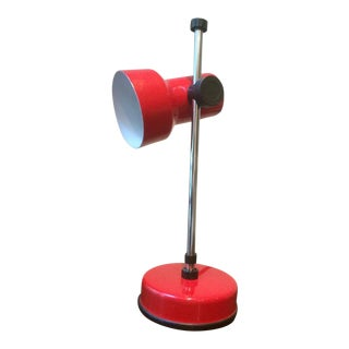 Mid-Century Modern Red Metal Desk Lamp For Sale