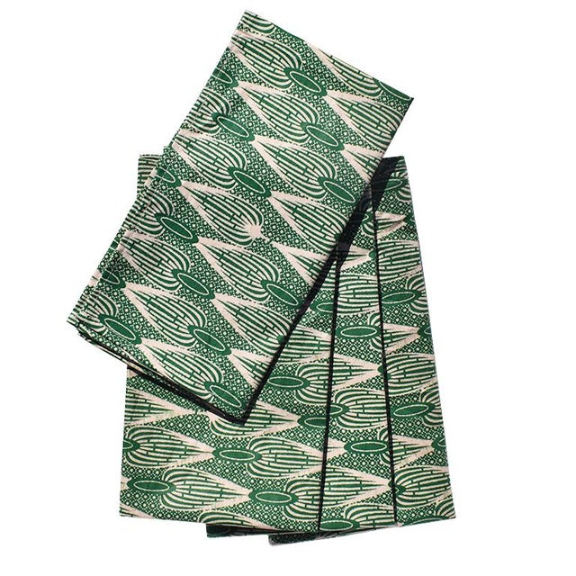 Wax African Wax Formal Cloth Dinner Napkins in Green Block Print, Set of 4 For Sale - Image 7 of 8