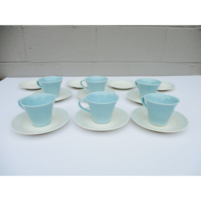 Mid Century Modern Atomic Starburst Cups & Saucers - 18 Pc - Image 8 of 11
