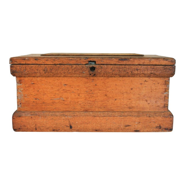Rustic Wooden Storage Trunk For Sale
