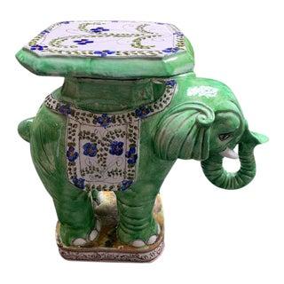 Vintage Italian Glazed Elephant Garden Stool For Sale