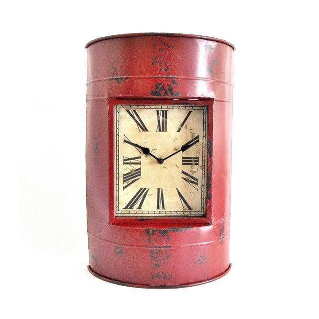 Vintage Metal Barrel Clock For Sale - Image 11 of 11