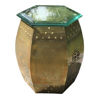 Vintage 70s Chinese Chinoiserie Style Brass Hexagonal Garden Seat / Stool / Side Table W/Glass Top For Sale