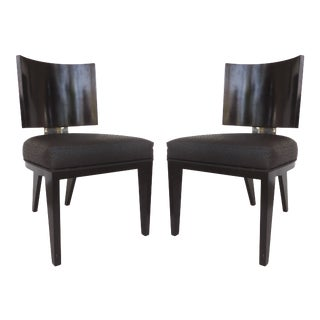 Modern Judith Norman Black Lacquered, Chrome & Ostrich Upholstered Club Chairs- A Pair For Sale