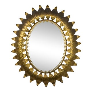1950s Spanish Gilt Metal Oval Sunburst Mirror For Sale
