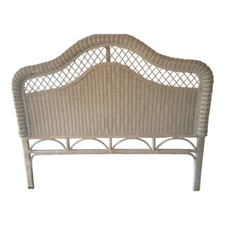 White-Washed Wicker Queen Headboard For Sale