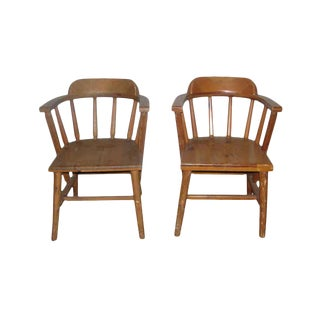Solid Pine Wooden Captains Chairs - A Pair For Sale