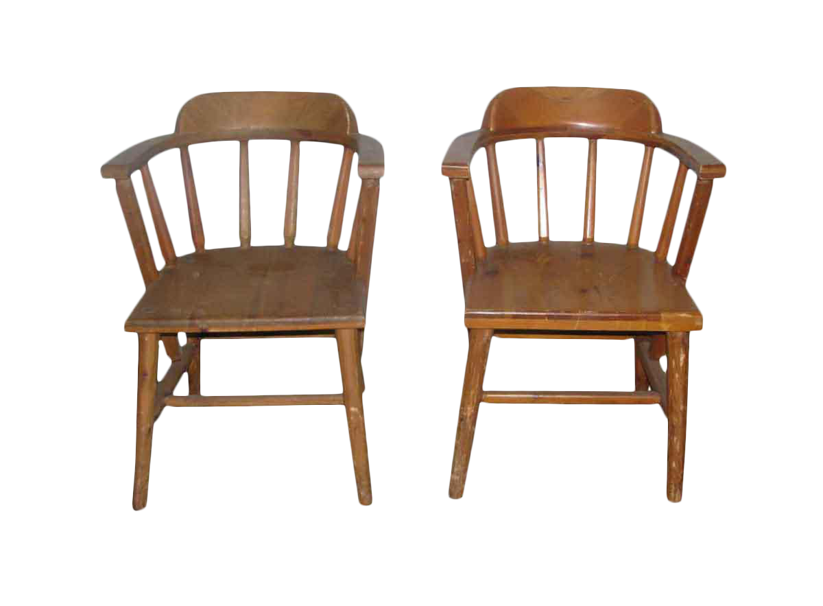 Beau Solid Pine Wooden Captains Chairs   A Pair