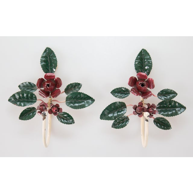 Mid 20th Century Italian Tole Red Flower Hooks - a Pair For Sale - Image 5 of 5