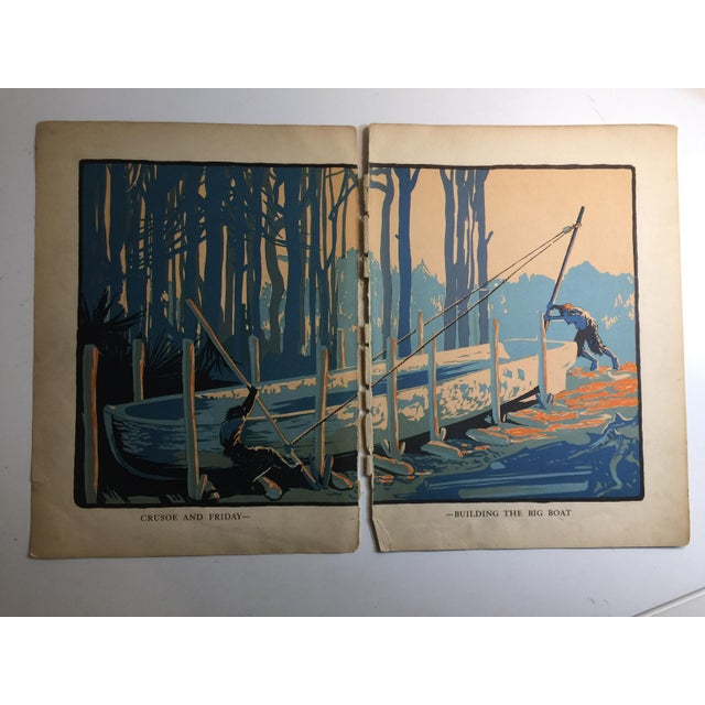 1931 Vintage Robinson Crusoe Building the Big Boat Prints - A Pair For Sale In New York - Image 6 of 6