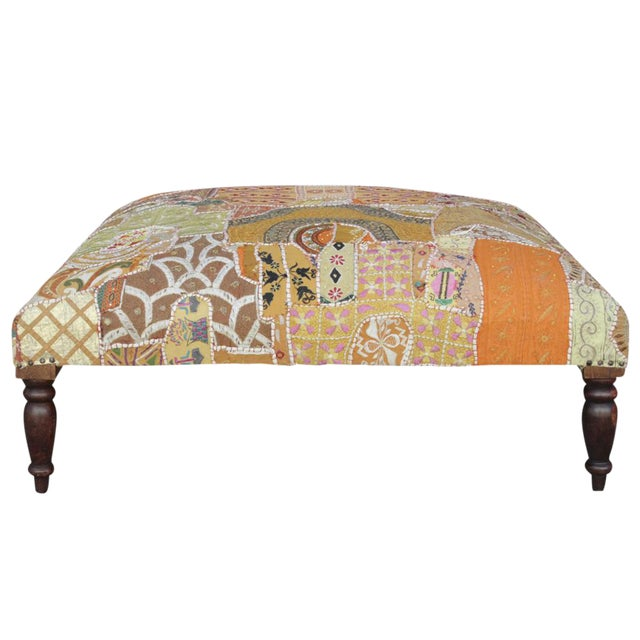 Vintage Hand-Sewn Tapestry Ottoman For Sale