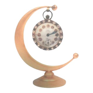 Henry Birks & Sons Crescent Moon Dresser Clock For Sale