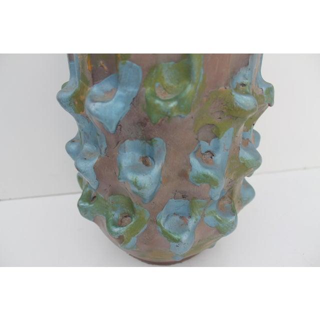 Cottage Vintage Blue Bonnet Ceramic Vase For Sale - Image 3 of 10