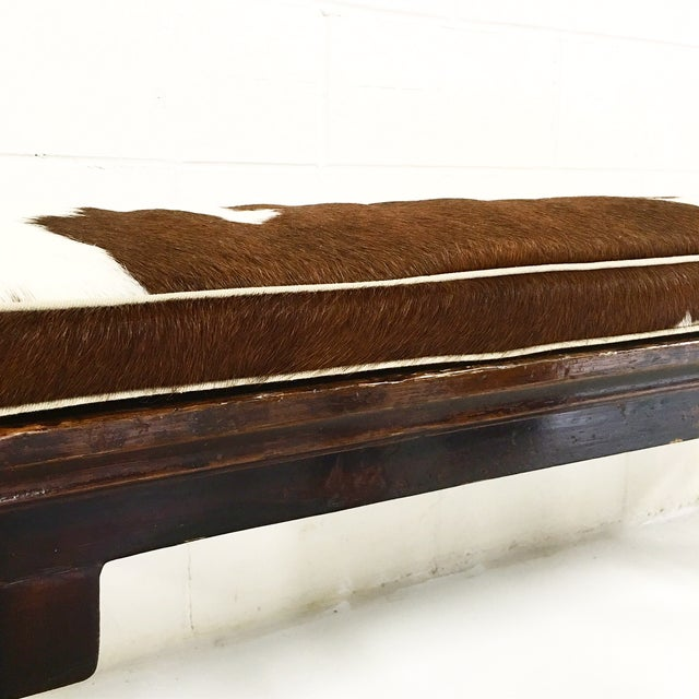 Vintage Chinese Bench with Cowhide Cushion - Image 6 of 8