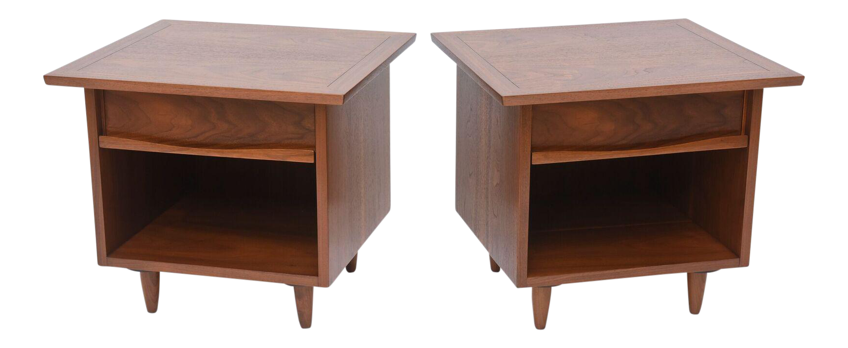 Pair Of American Modern Walnut Night Tables, George Nakashima