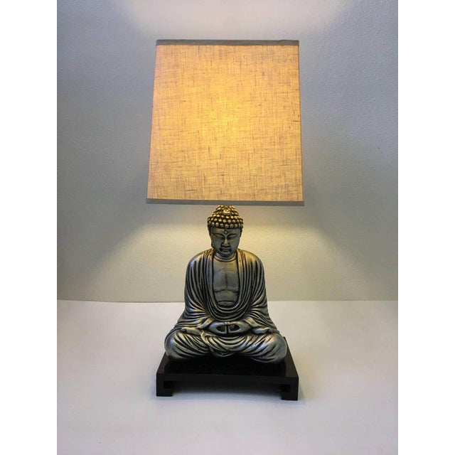 Silver and Black Lacquered Buddha Table Lamp For Sale - Image 10 of 10