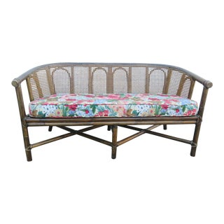 McGuire Bamboo Caned Back Loveseat For Sale