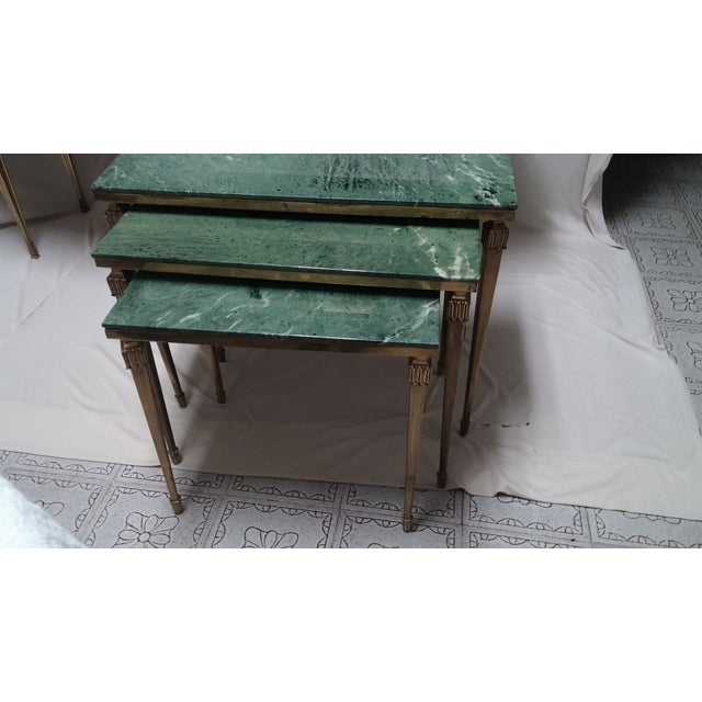 Green French Brass/Bronze Marble Top Nesting Tables- S/3 For Sale - Image 8 of 9