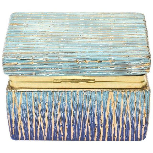 Italian Mid-Century Modern Bitossi Glazed Ceramic, Gold and Brass Hinged Box For Sale - Image 11 of 11