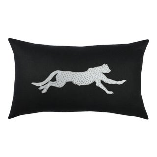 Hollywood Regency Black and Silver Cheetah Lumbar Pillow For Sale