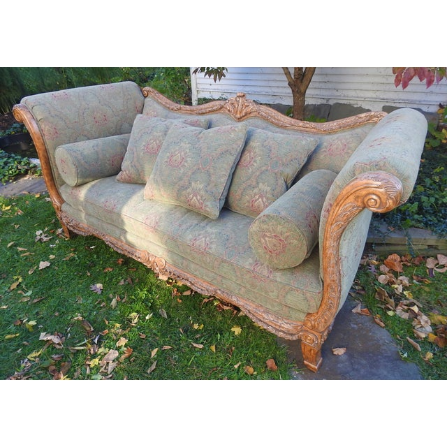 Walter E. Smithe Carved Wood Sofa - Image 2 of 11