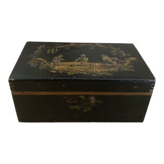 Antique Handpainted Black Wooden Box For Sale