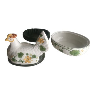 Villeroy and Boch Geranium Hen on a Nest Serving Dish For Sale