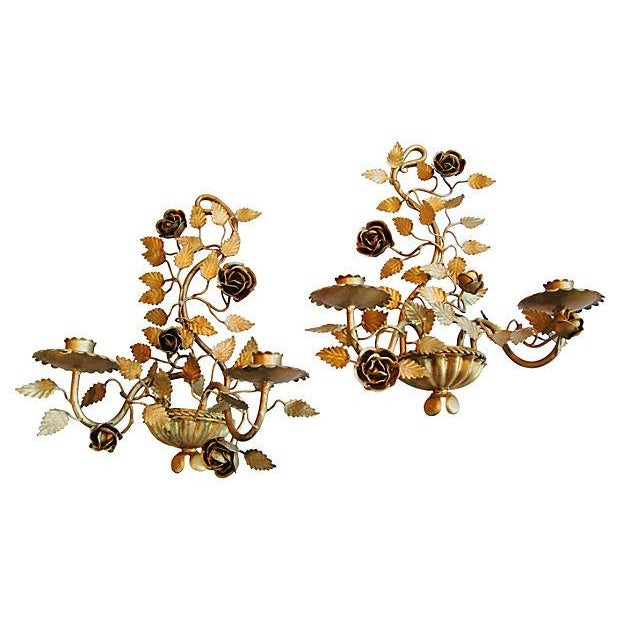 Mid-Century Italian Floral Candle Sconces - A Pair - Image 6 of 7