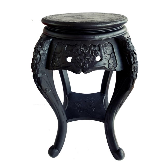 Vintage Chinese Carved Wood Planter Jardiniere Holder Stand Pedestal Side Table For Sale - Image 12 of 12
