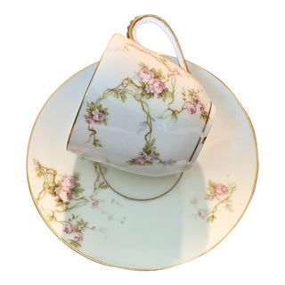 Antique French Pl Limoges Porcelain Cup and Saucer For Sale