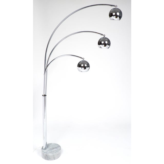 Luxury Guzzini Mid Century Chrome Arc Floor Lamp Decaso