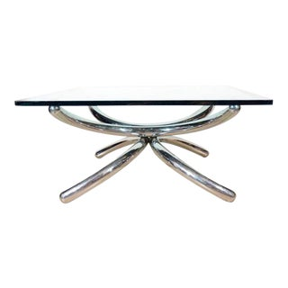 1970's Square Coffee Table With Sculptural Chrome Base, Italy For Sale