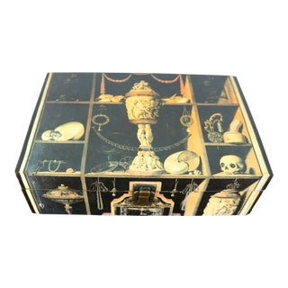 1980s Vintage Skull Curiosities Decoupage Box For Sale