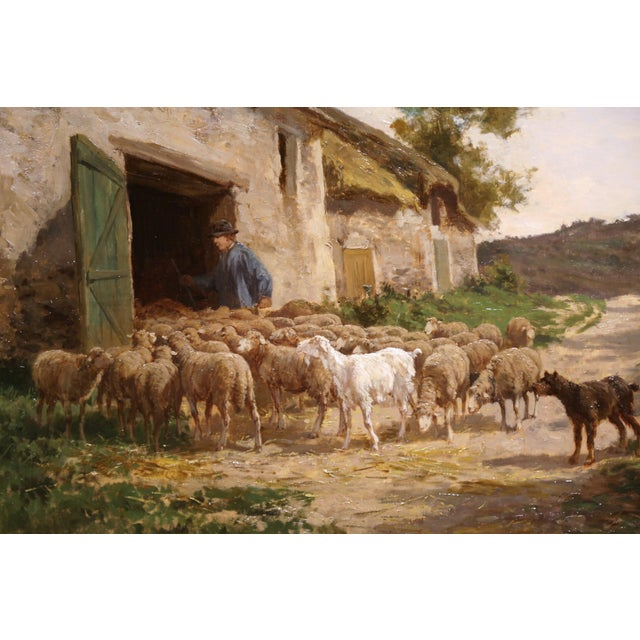 Country 19th Century French Sheep Paintings in Gilt Frames Signed C. Quinton - a Pair For Sale - Image 3 of 11