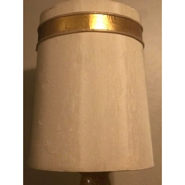 Mid Century Mustard Yellow Lava Glaze Pottery Lamp For Sale - Image 4 of 9