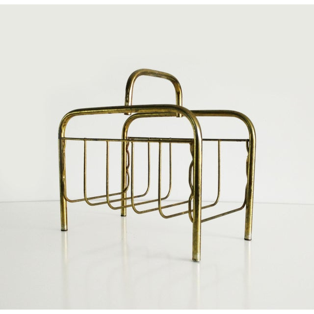 1960s Mid-Century Modern Brass Magazine Rack For Sale - Image 4 of 8