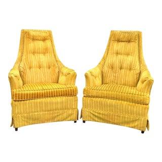 Yellow Velvet Lounge Chairs - A Pair For Sale