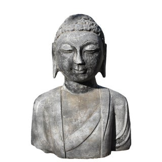 Antique Stone Buddha Bust Statue For Sale