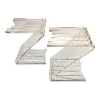 1970s Minimalist Lucite Z Side Tables - a Pair For Sale