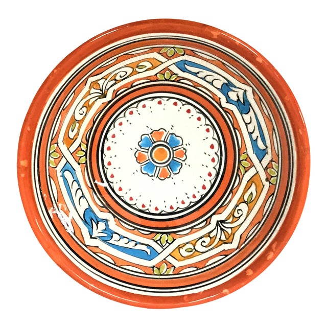 Moroccan Hand-Painted Orange Ceramic Bowl For Sale