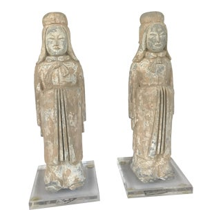 Han Dynasty Court Officials in Unglazed Pottery With Plexi Bases - a Pair For Sale