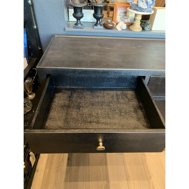 Contemporary Faux Linen Dresser in Black For Sale - Image 4 of 13